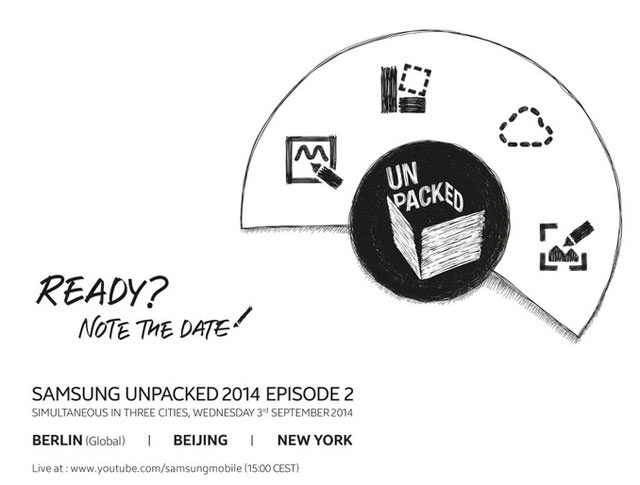 [Mobile] Samsung Unpacked Episode 2將於9月3日登場!你期待什麼樣的Note 4?